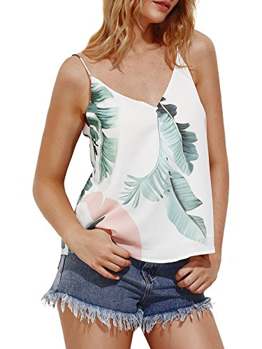 MakeMeChic Women's Color Block V Neck Camisole Casual Cami Tank Top Leaf-Multi ()