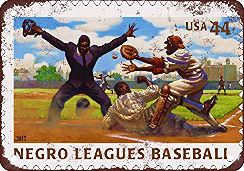 (WallDector U.S. Postage Negro League Baseball Iron Poster Painting Tin Sign Vintage Wall Decor for Cafe Bar Pub Home Beer Decoration Crafts )