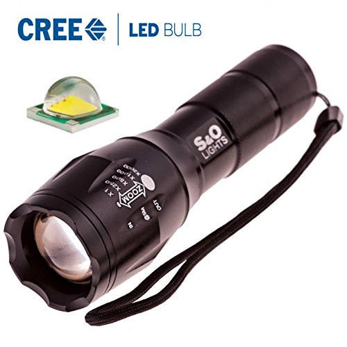 High Powered S&O Lights E17 Tactical Cree XM-LT6 Zoomable LED Flashlight Adjustable White Beam, Waterproof Handheld Flashlight 5 Light Modes in Solid Box with Wrist Strap