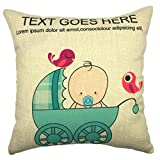 YOUR SMILE Cute Baby Cotton Linen Blend Square Decorative Throw Pillows Case Cushion Covers Shell 18 X 18 Inches (Color#2)