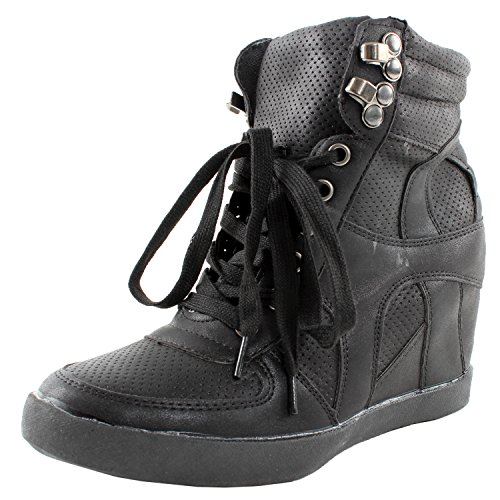 Top Moda Eric-8 High Top Lace Up Womens Wedge Sneakers Black 9