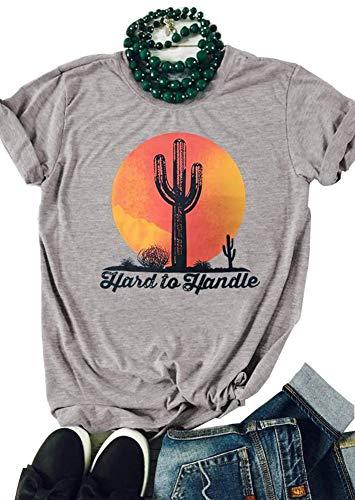 TENRUN Texas Cactus Shirts Women Short Sleeve Casual Tops Tee with Sayings Size S (Gray)