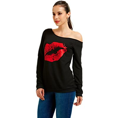 MAGICMK Woman/'s Sweatershirt Lips Print Causal Blouse Off The Shoulder Long Sleeve Loose Slouchy Pullover Plus Size Tops