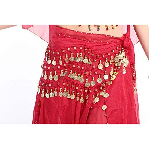 SWQ Women's Belly Dancing Belt Belly Dance Belt 3 Rows 98 Coins Chiffon Waist Chain Belly Dance Hip Scarf Belt