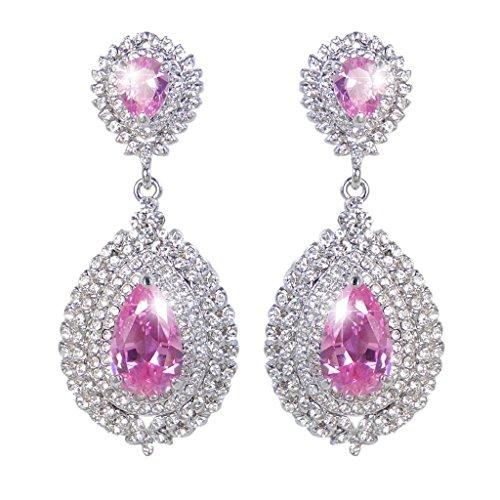 EVER FAITH® Luxueux 4 Couches Goutte Pendant Boucle d'Oreilles Rose Parfait Zircon Ton d'Argent N02712-2