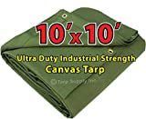 Ultra Duty 10'x10' Finished Size Industrial Strength Green Polyester Canvas Tarp with Brass Grommets Approx Every 2 Feet All Round