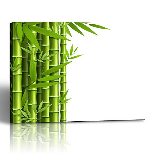 Emvency Painting Canvas Print Square 16x20 Inches China Green Bamboo Grove White Jungle Garden Leaf Nature Asian Vietnam Abstract Wall Art Decoration Wrapped Wooden Frame -