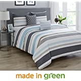 "Wonder Home 5-pc. Cotton Shell Striped Comforter Set, Oversized Grey and White Comforter Overfilled with Plush Down Alternative, Luxury Comforter Set with 2 Shams, 2 Embroidered Pillows Queen, 92""x96"""