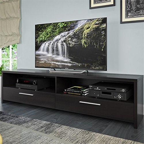 Atlin Designs TV Stand in Black Faux Wood Grain