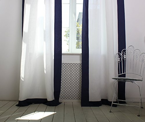 Linen frame border drapes, white with navy blue edging, back tabs or top ties as a a top, multiple height options