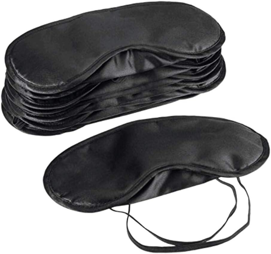 Frcolor 10pcs Poliéster Máscara para dormir Blindfold Portátil Sombreado Eyepatch Eyeshade Eye Cover (Negro)