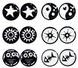 6 Pairs Black White 8mm Circle Fake Cheater Plug Magnet Clip Non Pierced Stainless Steel Earrings