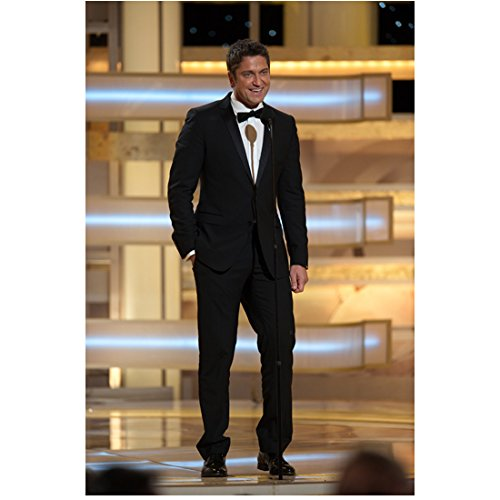 Gerard Butler Wearing Tux Golden Globes Standing Behind Mic On Stage Mouth Open Smiling Hand in Pocket 8 X 10 Inch Photo