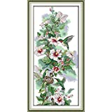 YEESAM ART New Cross Stitch Kits Advanced Patterns for Beginners Kids Adults - Morning Dew 11 CT Stamped 36x68 cm - DIY Needlework Wedding Christmas Gifts