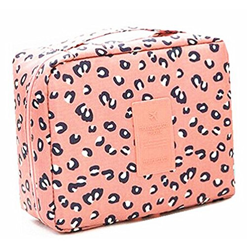 CalorMixs Travel Bag Printed Multifunction Portable Toiletry Bag Cosmetic Makeup Pouch Case Organizer for Travel, Leopard print]()