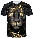 FLYCHEN Men's Colorful 3D Animal Galaxy Print T-Shirt Short Sleeve Fashion Casual Tees S Black Lion
