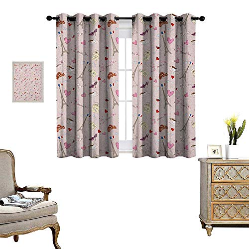 Warm Family Paris Window Curtain Drape French Flag Coffee Croissant Fashion Shoes Wine Hearts Perfume Popular Icons Clouds Design Decorative Curtains for Living Room W55 x L63 Rose
