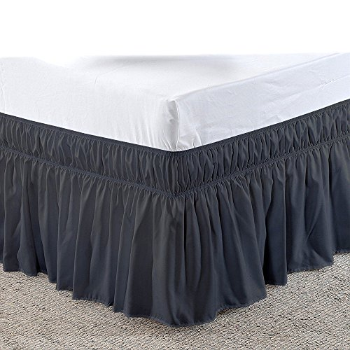 Cotton Castles Three Sides Fabric Wrap Around Elastic Solid Bed Skirt, Easy On/Easy Off 100% Microfiber Dust Ruffled Bed Skirts- Bed Wrap with 14 Inch Tailored Drop (Full/Full XL, Dark Grey)
