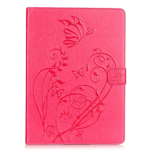 iPad Air Case,PHEZEN Vintage Emboss Flower Butterfly PU Leather Stand Folio Flip Case Book Cover with [Card Slots Magnetic] Full Body Protective Case Cover for iPad Air / iPad 5th Generation ,Hot Pink