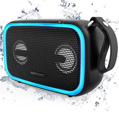 Bluetooth Speaker,ASIMOM IPX7 Waterproof Portable Speakers, Beat-Driven LED Light, Bluetooth 5.0,28W Loud Bass, Build-in Mic, Wireless Stereo Pairing, Waterproof Bluetooth Speaker for Outdoor Beach