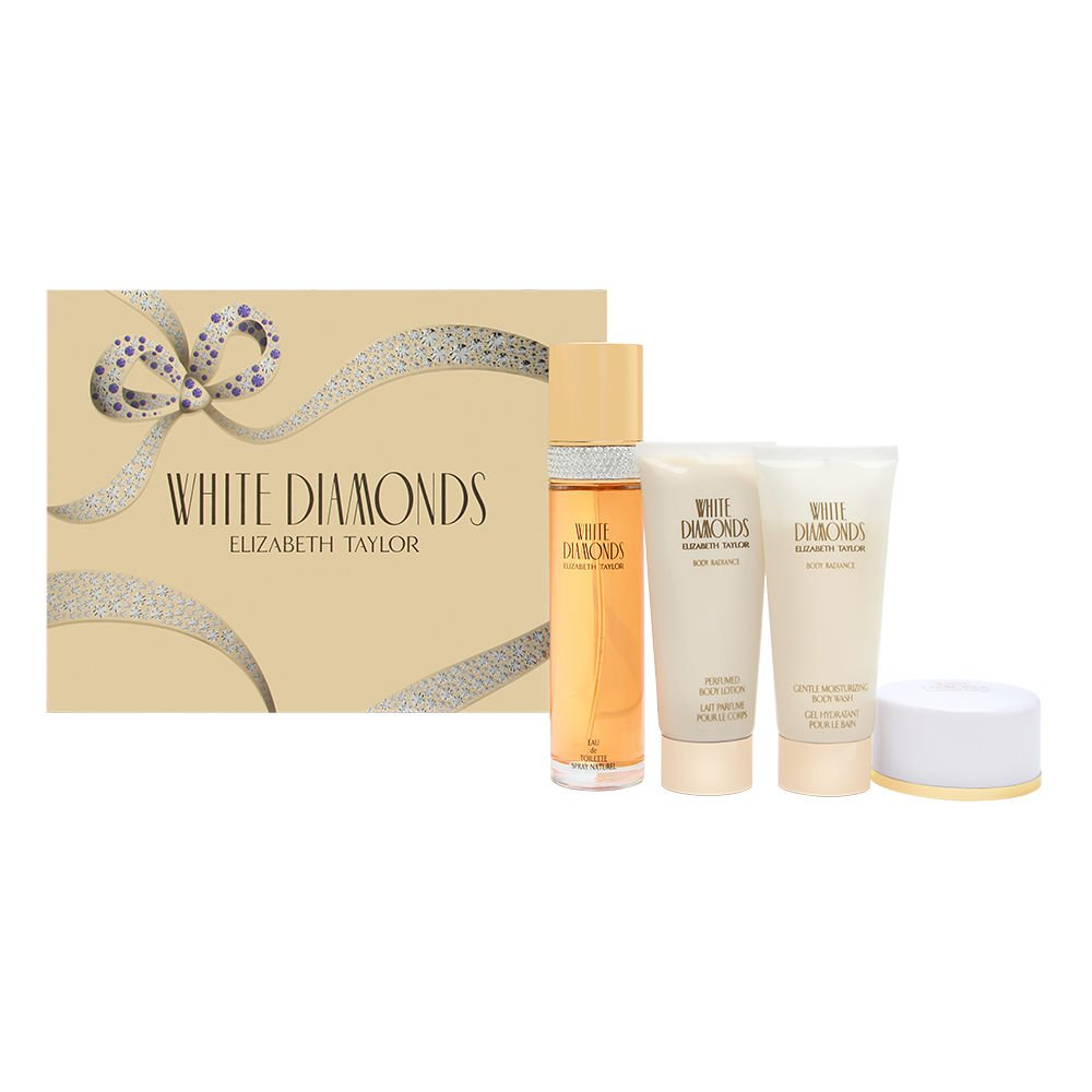 White Diamonds by Elizabeth Taylor for Women 4 Piece Set Includes: 3.3 oz Eau de Toilette Spray + 1.25 oz Dusting Powder + 3.3 oz Gentle Moisturizing Body Wash + 3.3 oz Perfumed Body Cream Elizabeth Arden