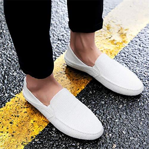 chanvre de Blanc Taille Designer de Couleur Flats respirants Men décontractés Mocassins Zhrui 43eu Chaussures Lazy bateau d'été 9uk Hn64XwCq8