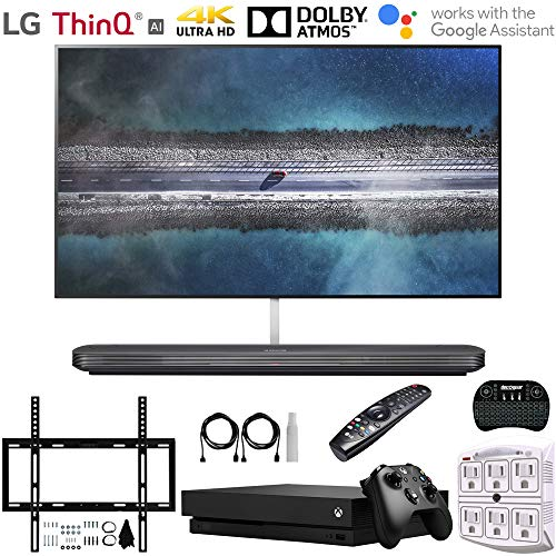 "LG OLED65W9PUA 65"" W9 Signature OLED 4K HDR Smart TV w/AI ThinQ (2019) + Microsoft Xbox One X 1TB + Deco Mount Flat Wall Mount Kit + Wireless Keyboard w/Touchpad +6-Outlet Surge Adapter w/Night Light"