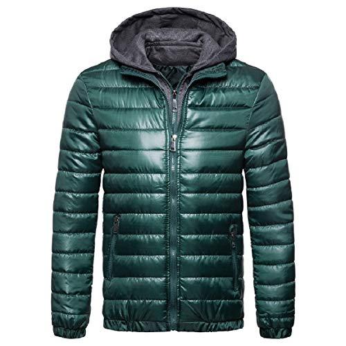 Cotton Coat Mogogo Thicken Solid Zip Green Wool Hooded Blackish Mens Comfort qr88FwRAtx