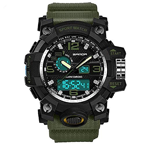 FAVOT Men's Sports Watch Fashion Multi-Function Outdoor Fitness Large Dial Waterproof Luminous Leisure Electronic Watch (Army Green) ()