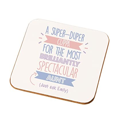 Best Aunt Gift Idea Personalised Coaster Auntie Presents Birthday Gifts Amazoncouk Kitchen Home