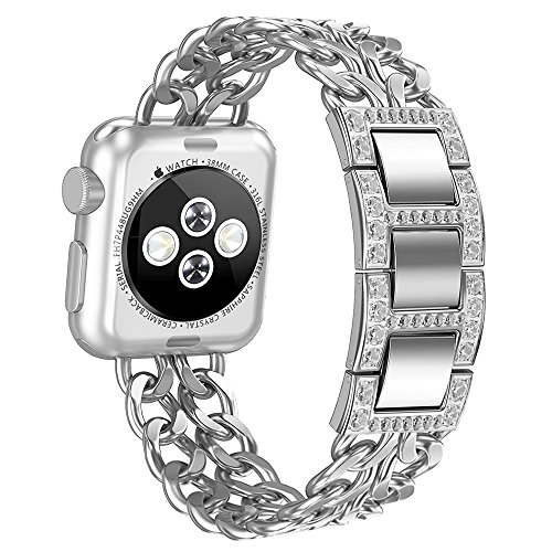 Apple Watch Band, Aokay 42mm Stainless Steel Metal Cowboy Chain Band for Apple Watch Series 3 Series 2 Series 1 Sport and Edition (42mm Silver Band with White Crystals (Cowboys Metal)