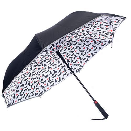Revers-A-Brella Dogs and Cats Heart Black 31 inch Auto Open No Drip Inverted Straight Handle Umbrella