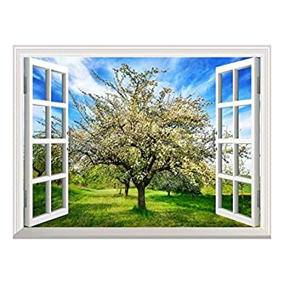 Original Creation, Beautiful Portrait, Removable Wall Sticker Wall Mural Idyllic Rural Landscape in Spring with a Beautifully Blossoming Apple Tree Creative Window View Wall Decor