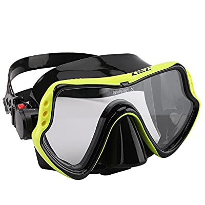ZMZ DIVE Adult Snorkel Set, Tempered Glass Diving Mask and Dry Snorkel, Adjustable Anti-Leak Anti-Fog Design Panoramic Scuba Mask, Top Snorkel with Food-Grade Silicone for Freediving Snorkeling