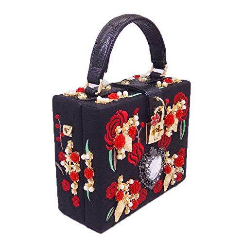 donne da festa per borsa borsa Nuova Black borsa borsa sera frizione la Shimmer della nozze ricamata di UBwFFYq5