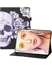 "Miagon for Kindle Fire HD 7 {7""} 2019/2017/2015 Case,PU Leather Folio Stand Wallet Smart Magnetic Cover with Card Slots Auto Wake/Sleep,Skull"