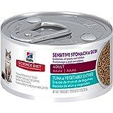 Hill's Science Diet Adult Sensitive Stomach & Skin Wet Cat Food, Tuna & Vegetable Entrée Canned Cat Food, 2.9 oz, 24 Pack