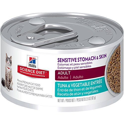 Hill's Science Diet Adult Sensitive Stomach & Skin Tuna & Vegetable Entre Canned Cat Food, 2.9 oz, 24-pack