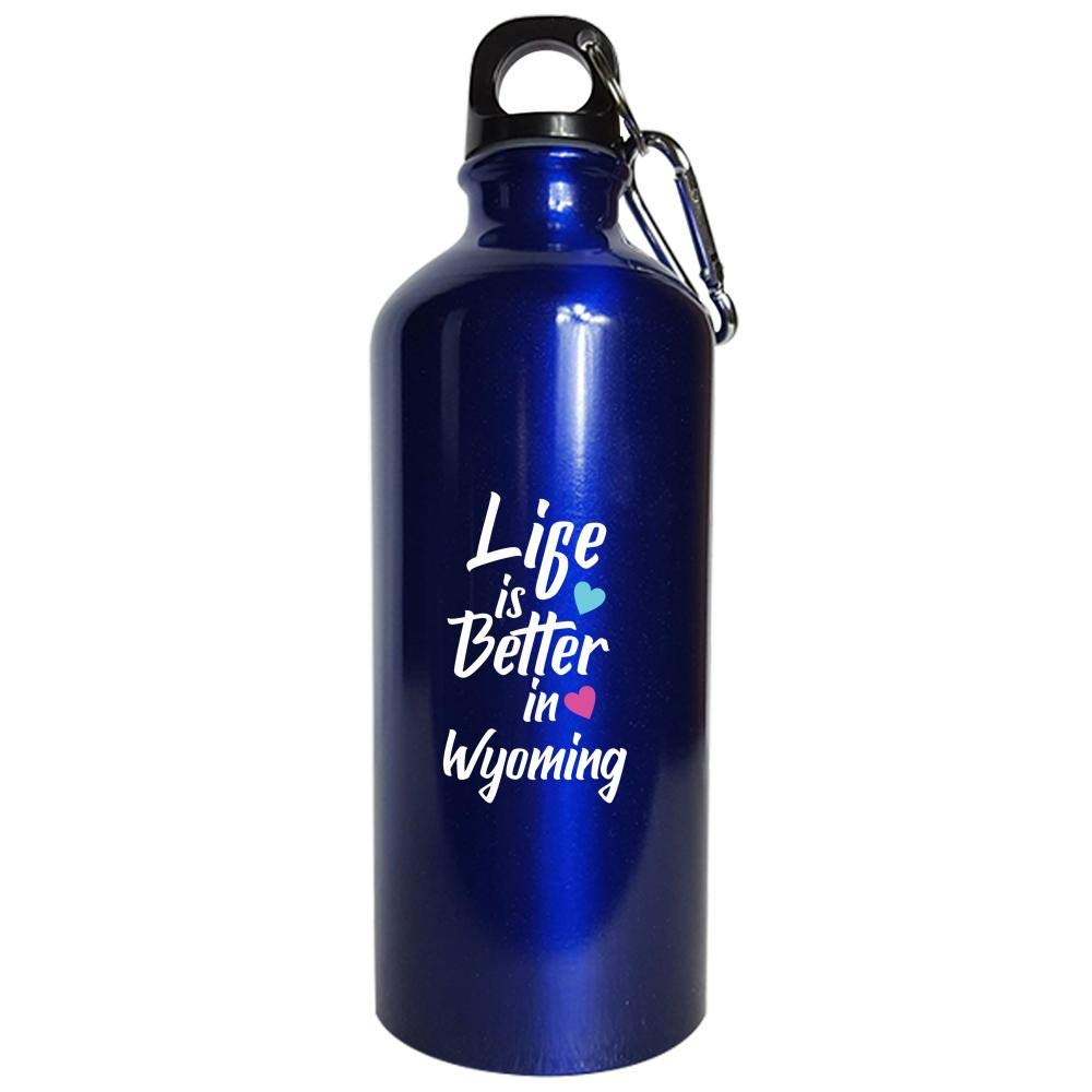 Life Is Better In Wyoming Pride - Water Bottle Metallic Blue