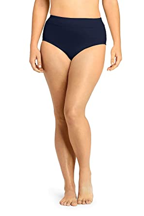 d41a5a3fa44fc Lands' End Women's Plus Size High Waisted Bikini Bottoms with Tummy Control,  16W,
