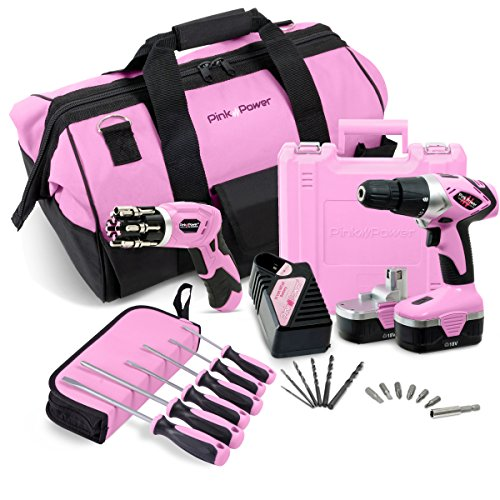 "Pink Power 18V Cordless Drill Driver & Electric Screwdriver Combo Kit with 20"" Tool Bag"