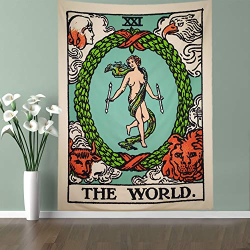 Lahashoker The World Tarot Tapestry Colored World Card Tapestry Bohemian Wall Hanging Tapestry Medieval Divination Tarot Tapestry Horoscopes Hippie Wall Hanging Yoga Mat Meditation Tapestry Decor ()