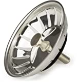 Andrew James Sink Strainer Plug for use in Kitchens and Bathrooms   Stainless Steel   83mm Diameter