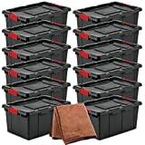 Sterilite 14649006 15 Gallon/57 Liter Industrial Tote, Black Lid & Base w/ Racer Red Latches, 12-Pack with Cleaning Cloth