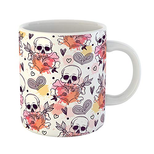 (Emvency Coffee Tea Mug Gift 11 Ounces Funny Ceramic Pattern Skull and Heart Freehand Drawing Halloween Gifts For Family Friends Coworkers Boss)