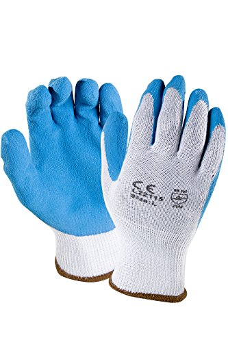 Azusa Safety L22115 10 gauge Knit Polyester/Cotton Work Safety Gloves, Latex Coated Textured Crinkle Finish Large 9'', Blue/Gray (Pack of 12 Pairs) by Azusa Safety