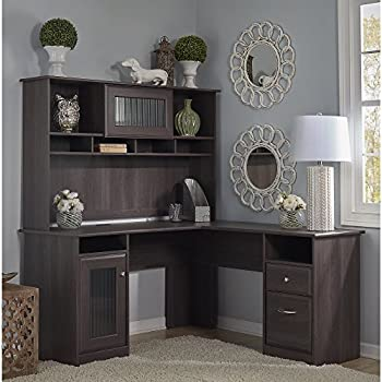 Cabot L Shaped Desk with Hutch in Heather Gray