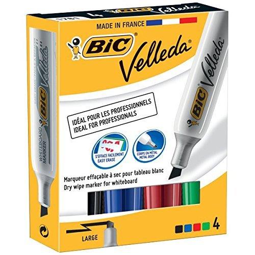 BIC Velleda 1781 Whiteboard Marker Chisel Tip - Assorted Colours, Pack of 4 Bic Velleda Whiteboard Marker