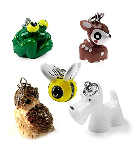 5 Cute 3-D animal charms/pendants, for key chains, phone decorations, DIY projects.