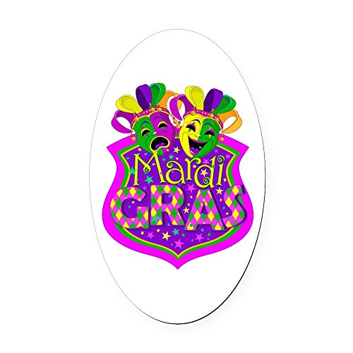 Oval Car Magnet Large Mardi Gras Comedy Tragedy